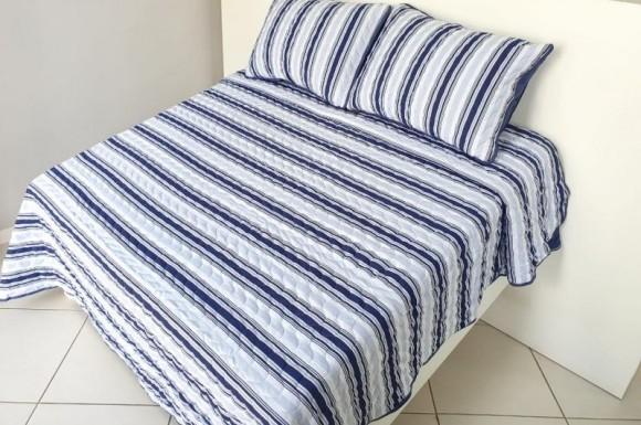Cobre Leito 2,50X2,70m - Listrado Azul