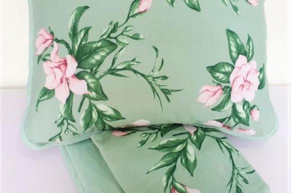 Jogo Lençol Malha Solteiro - Verde Floral
