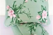 Jogo Lençol Malha King Size - Verde Floral