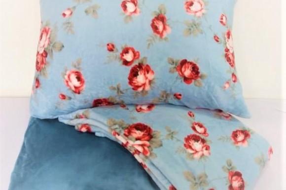 Jogo de lençol plush - Casal Florzinha
