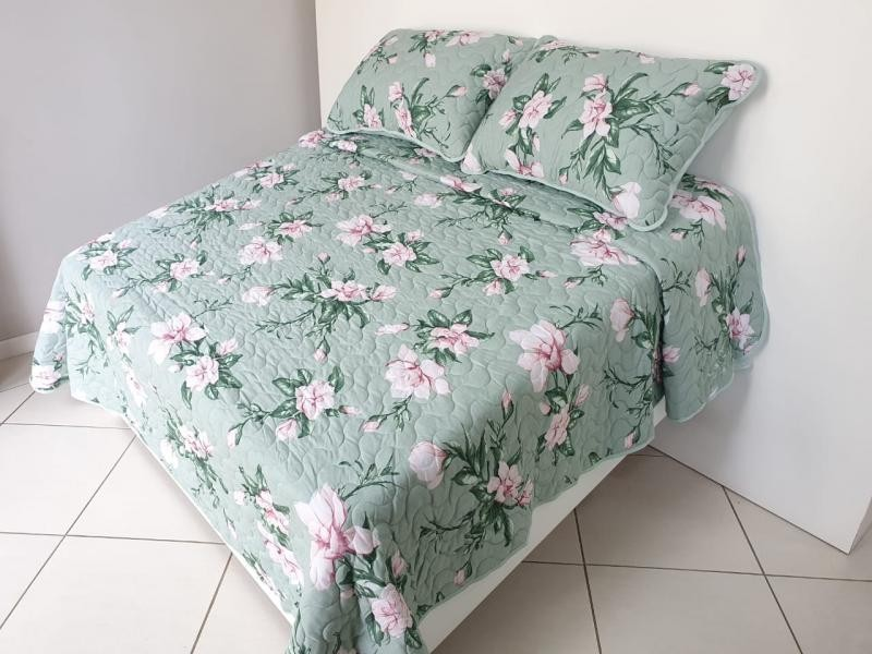 Cobre Leito 2,20X2,50m Floral Verde_1